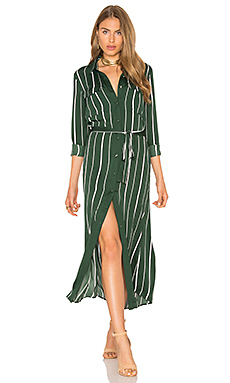 The Long Sleeve Shirt Dress in Green Stripe