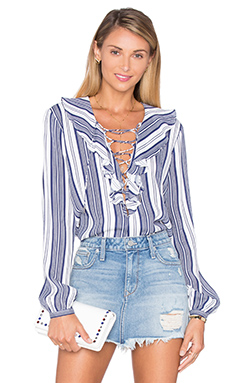 The Ruffle Boho Blouse en Rayures Marines