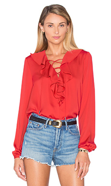 The Ruffle Boho Blouse en Red Clay