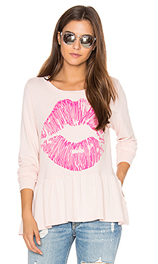 Fiora Ruffle Pink Lip Tee in Pink Champagne