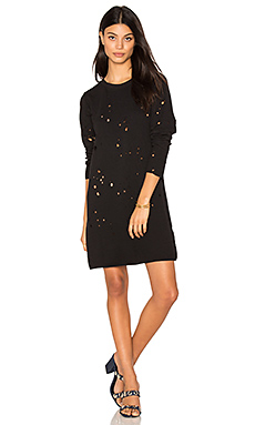 Destroyed Sweatshirt Dress en Noir