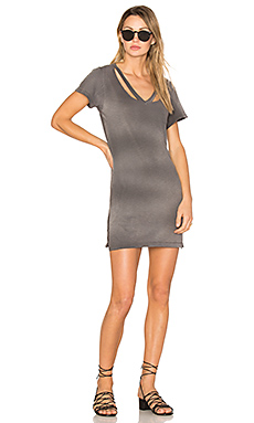 Double Fallon Tee Dress in Charcoal Potassium