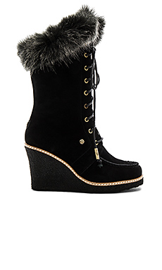 Mandinka Boot with Faux Fur Cuff in Black