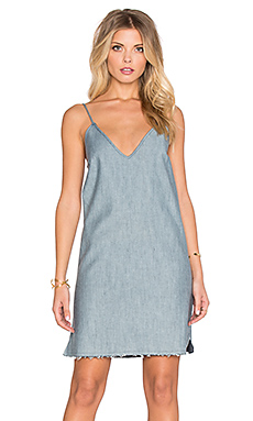 ROBE COURTE RAW HEM DENIM SLIP