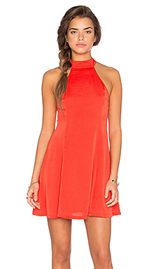Washed Satin Mock Neck Fit N Flare Dress in Poppy
