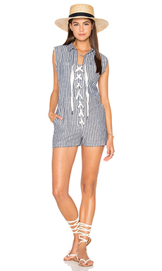 Lace-Up Cut-Off Romper – 牛仔蓝条纹