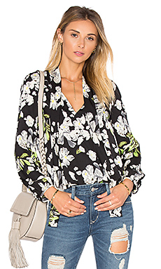 Sophie Blouse en Black Satin Floral