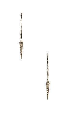 Pave Spike Thread Earrings en Silver Ox