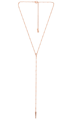 Pave Crescent Lariat in Rose Gold