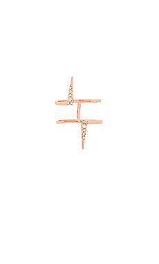 Double Pave Spike Ring en Or Rose