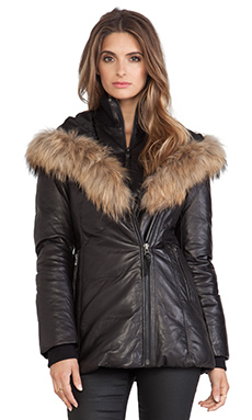 Ingrid Jacket with Natural Asiatic Raccoon Fur in Black