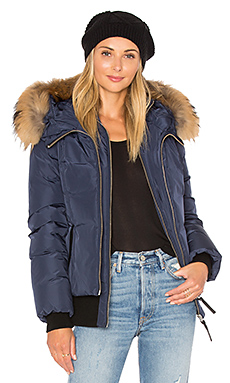 Romane Jacket with Asiatic Raccoon Fur Trim in Ink