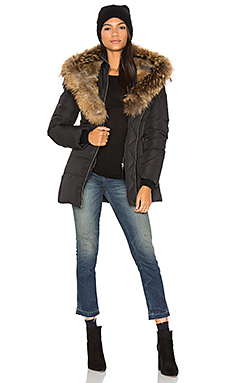 Akiva Asiatic Raccoon Fur and Rabbit Fur Coat in Black