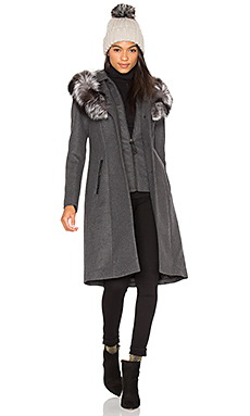 Mila Fox Fur Coat in Charcoal