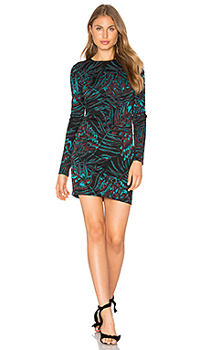 Herbarium Jacquard Fitted Dress in Teal Multi