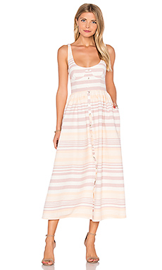 Button Front Midi Dress en Sand Stripe