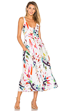 Placket Front Midi Dress in White Multi
