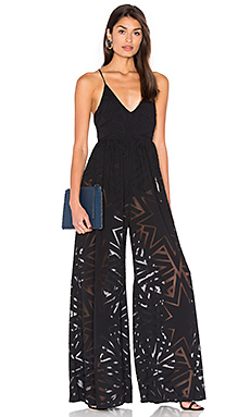 Compass Burn Out Wide Leg Jumpsuit in Black