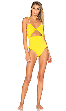 Tie Front One Piece in Yellow