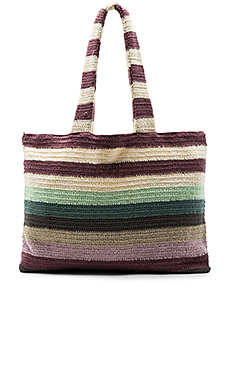 Crochet Beach Tote in Crochet Sage Stripe