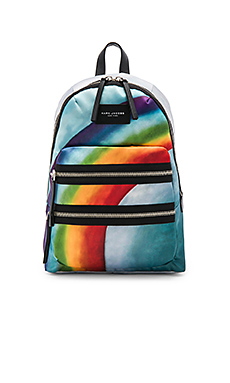Rainbow Printed Biker Backpack in Grey Multi