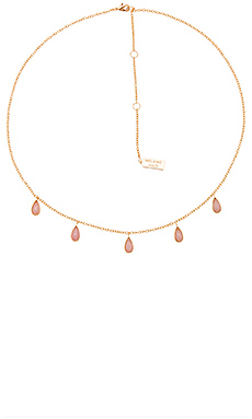 Stone Drop Necklace – Pink Opal & Gold
