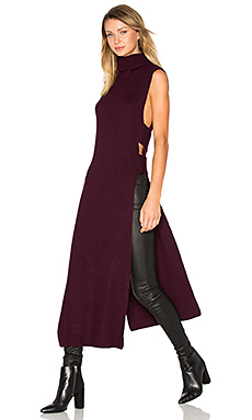 Sleeveless Turtleneck Midi Dress en Bordeaux