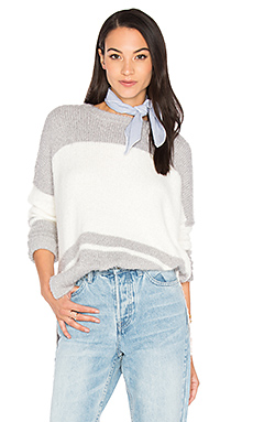 Oversize Striped Sweater – Silver & Ivory