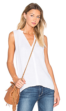 Double Gauze Split Neck Lace Trim Tank en Craie