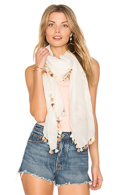 Silky Tassel Scarf in Chalk