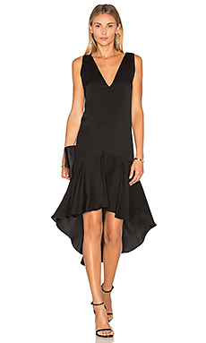 Deep V Flounce Dress en Noir