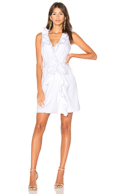 Ruffle Front Dress en Blanc