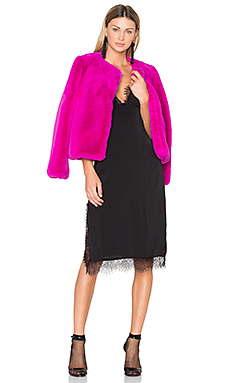Faux Fur Jacket in Fuchsia