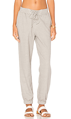 Lace Up Track Pant en Gris Chiné