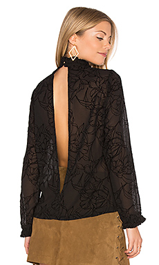 Shadows Flocked Blouse en Noir