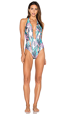 Texta Tropical Plunge One Piece Swimsuit in Multi