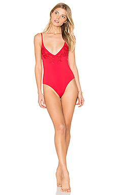 Forbidden Fruit Lace One Piece in Cherry Red