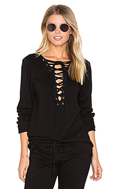 Dominic Lace Front Pullover in Black