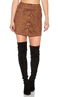 Tate Skirt in Tan Twin Stich Suede