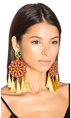 Sun Burst Tassel Earring in Coral & Gold