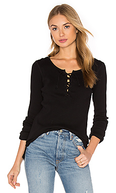 Lace Up Rip Long Sleeve Top in Black