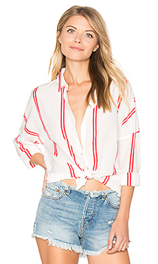 Loose Fitted Shirt en Rouge & Blanc