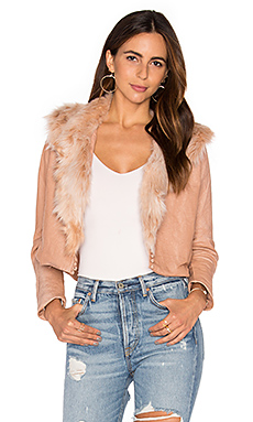 Harlow Jacket with Faux Fur Collar in Blush