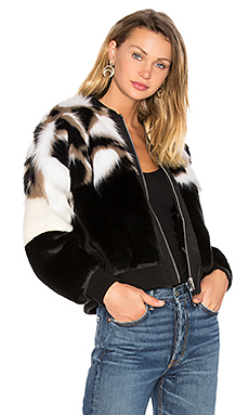 x REVOLVE Bonita Faux Fur Bomber in Black & Cream