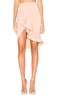 x REVOLVE Zayleigh Skirt in Nude Beige