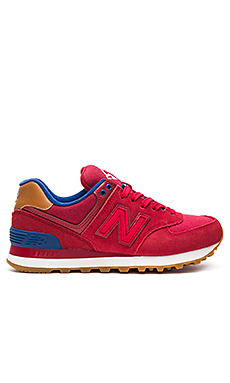 574 Collegiate Pack Sneaker en Crimson, Red, & Atlantic