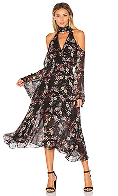 Floral Chain Neck Wrap Front Dress in Black
