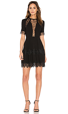 Lace Insert Mini Dress en Noir