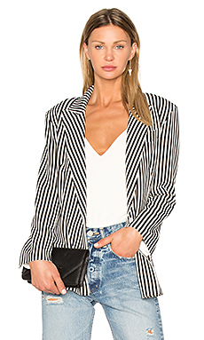 Vertical Stripe Double Breasted Jacket – 乳白色 & 黑色条纹