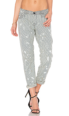Skinny Crop Pants en Painted Railroad Stripe